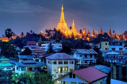 Yangon Street by night -  Yangon Day Tour
