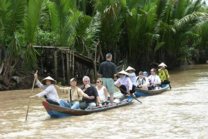 Take row boat in MeKong delta