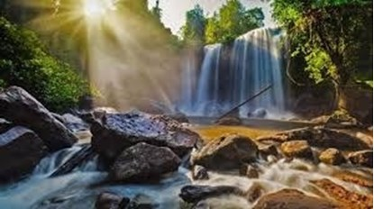The waterfall of Phnom Kulen.